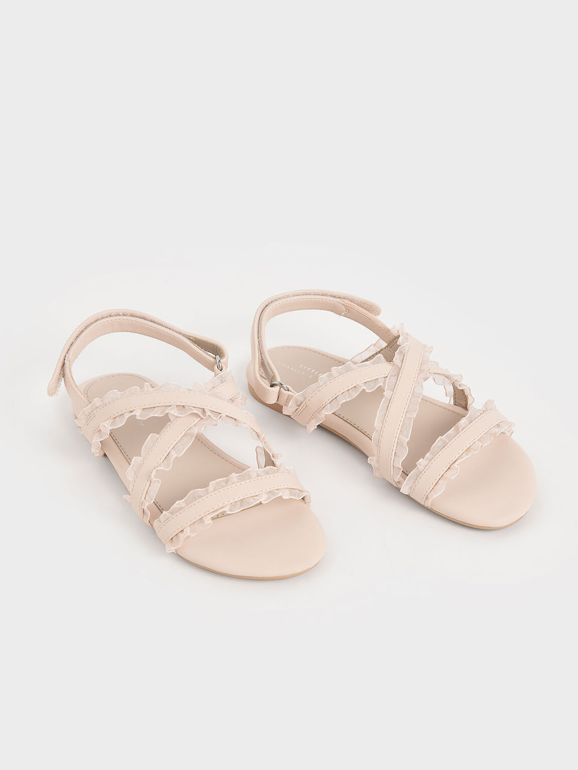 Girls' Frill-Trim Flat Sandals, Light Pink, hi-res