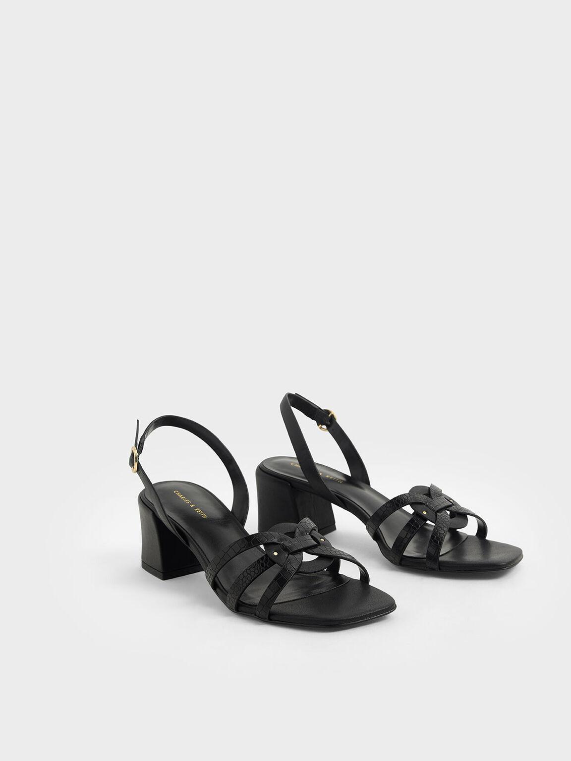 Snake Print Block Heel Sandals, Animal Print Black, hi-res