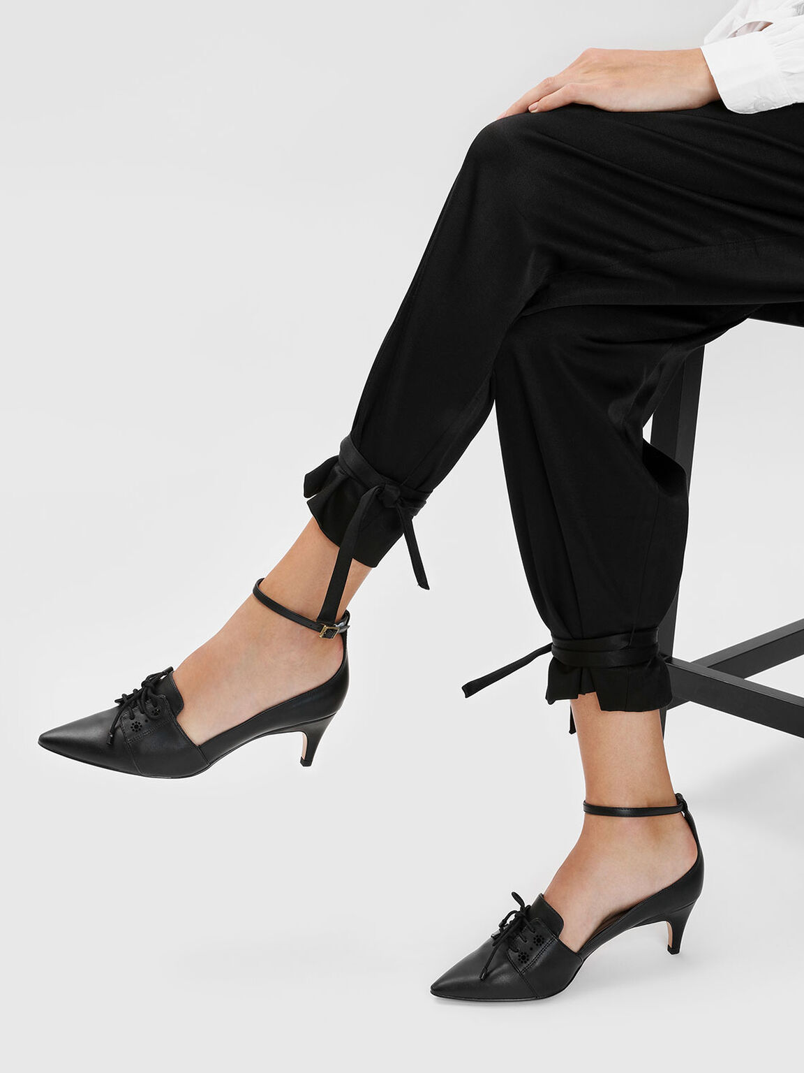 Lace Up Ankle Strap Pointed Heels, Black, hi-res
