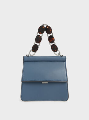 Small Acrylic Tortoiseshell Top Handle Bag, Blue, hi-res