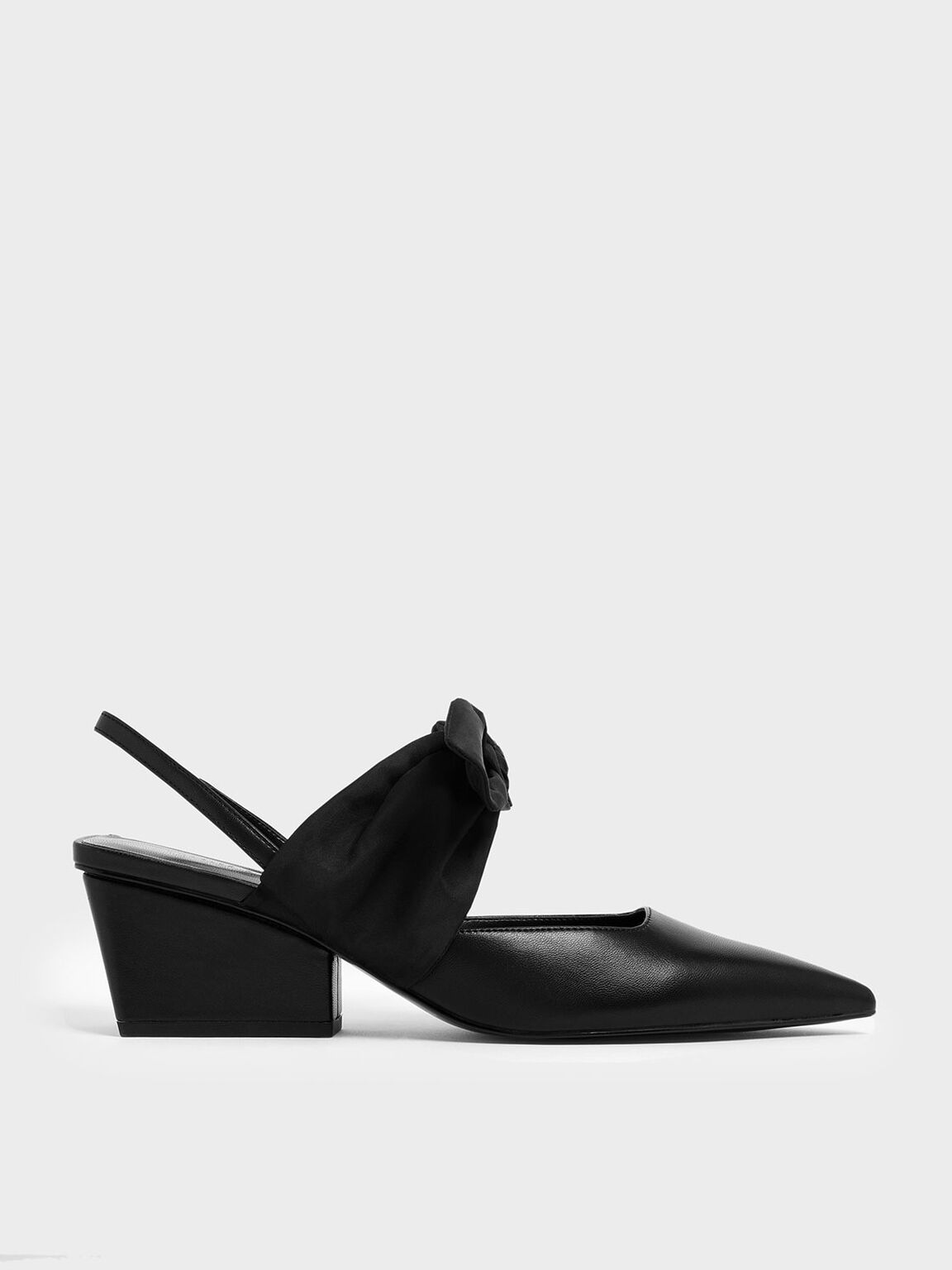 Grosgrain Bow Chunky Heel Slingback Pumps, Black, hi-res