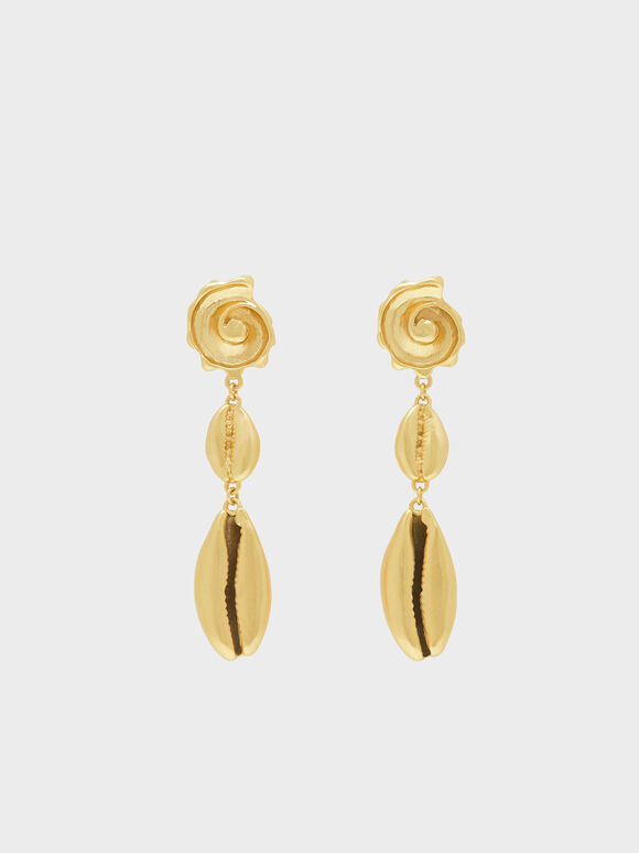 Shell Drop Earrings, Gold, hi-res