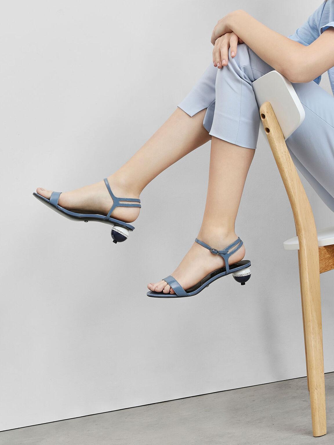 Leather Spherical Heel Sandals, Blue, hi-res