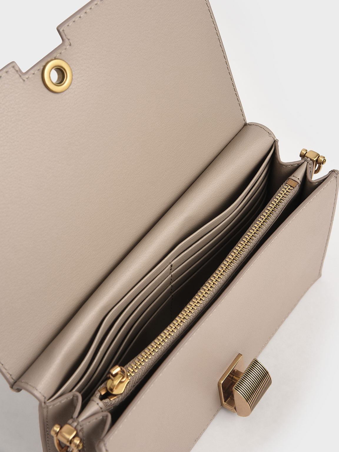Panelled Metallic Push-Lock Wallet, Taupe, hi-res