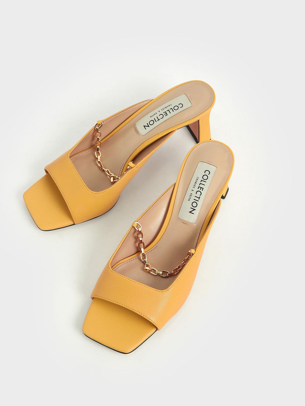 真皮金屬鍊魚口鞋, 黃色, hi-res