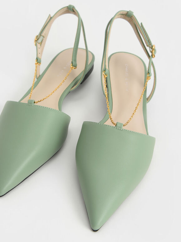 Chain Strap Slingback Ballerinas, Green, hi-res