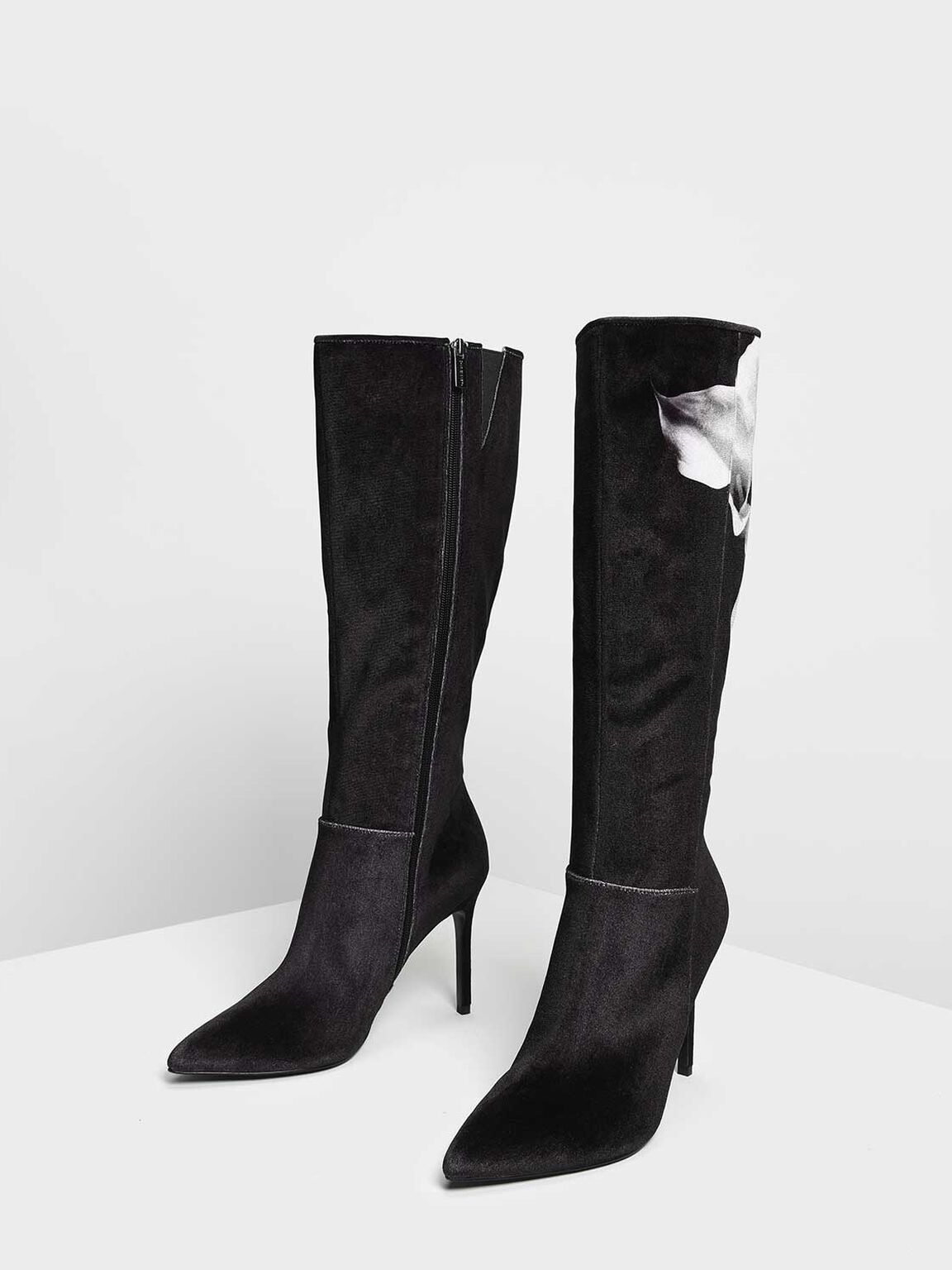 Classic Pointed Knee Boots, Black, hi-res