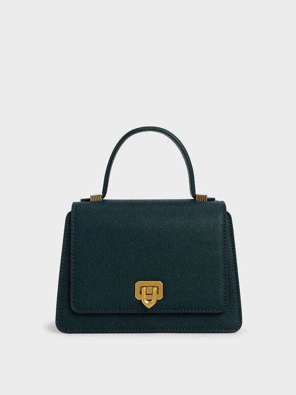 Metallic Push-Lock Top Handle Bag, Green, hi-res
