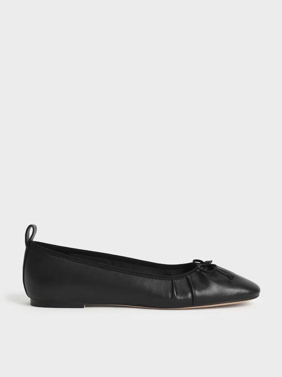 Bow-Tie Ballerina Flats, Black, hi-res