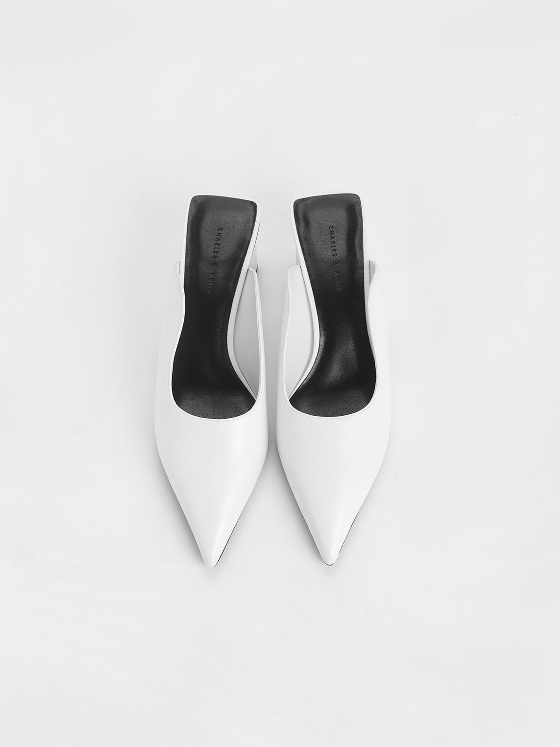 Pointed Toe Wedge Heel Mules, White, hi-res