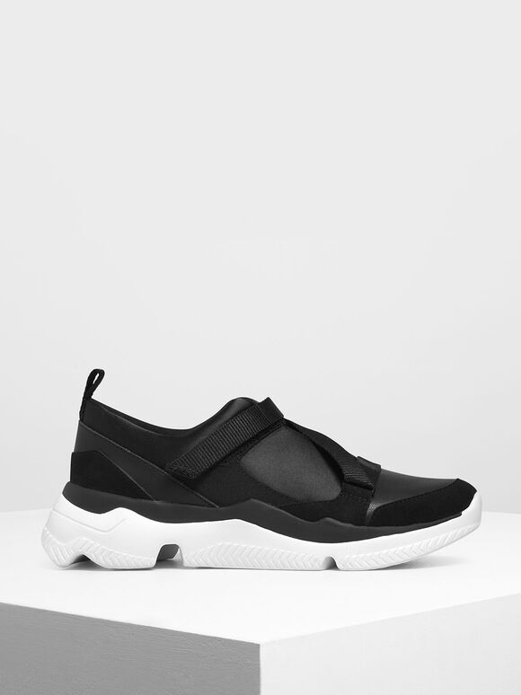 Velcro Slip-On Sneakers, Black, hi-res