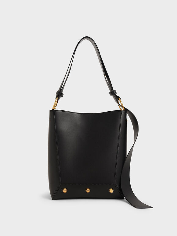 Studded Tote Bag, Black, hi-res