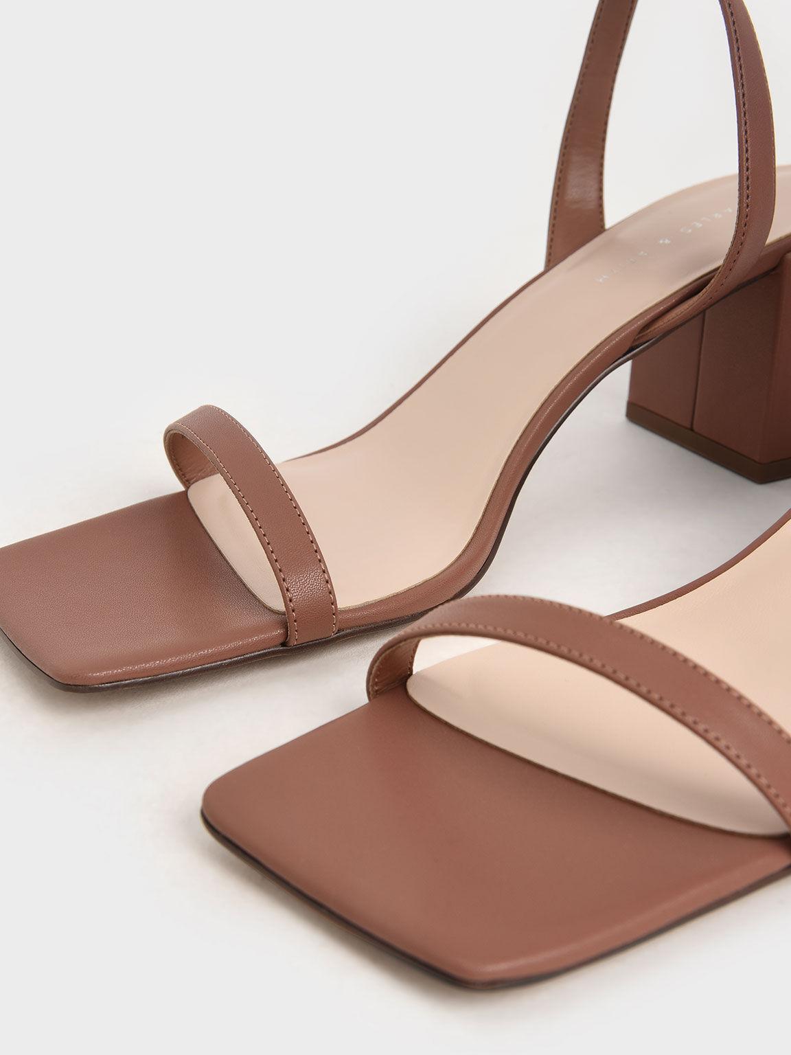 Ankle Strap Block Heel Sandals, Brick, hi-res