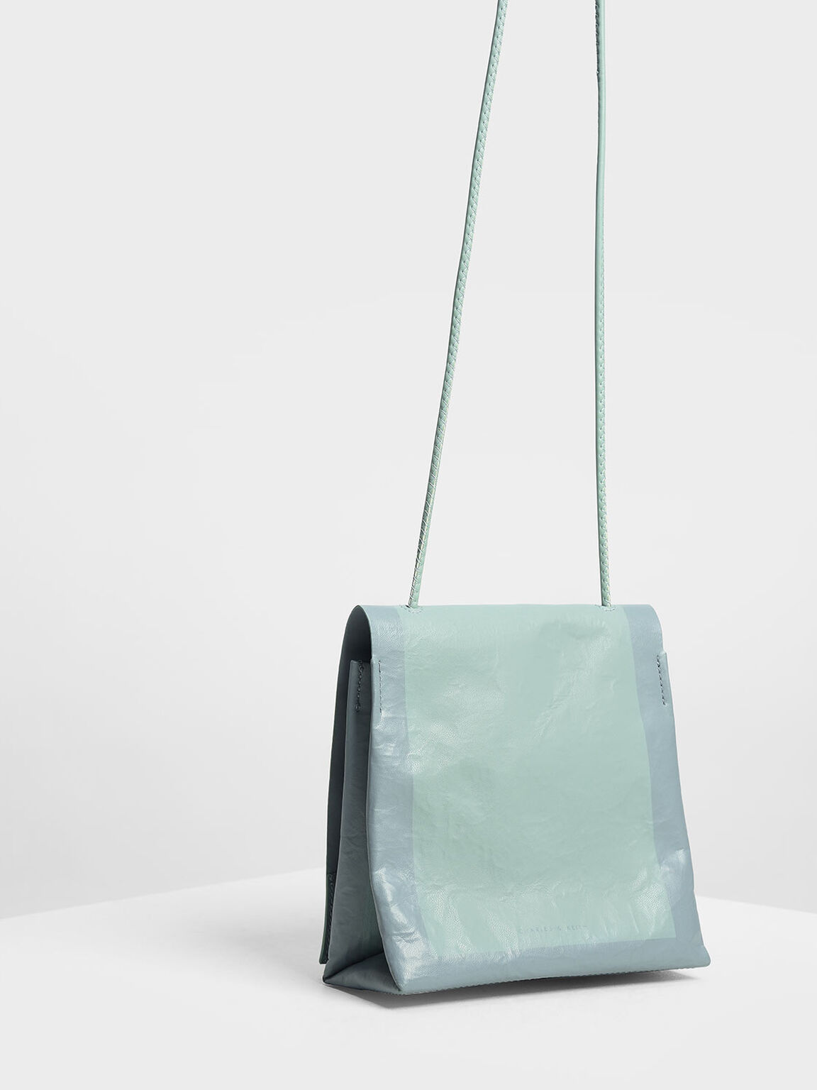 Crumpled Effect Top Handle Bag, Mint Green, hi-res