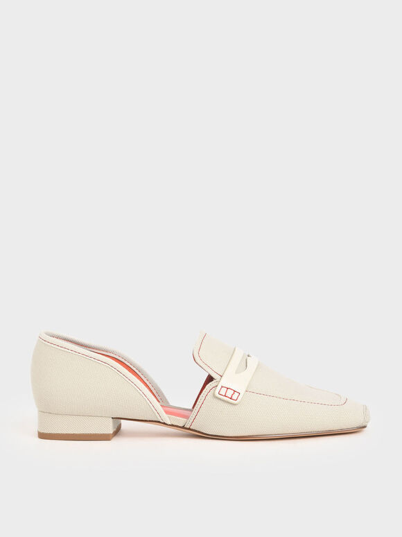 Espadrille Toe Cap Penny Loafers, Cream, hi-res