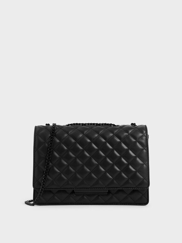 Quilted Chain Strap Shoulder Bag, Ultra-Matte Black, hi-res
