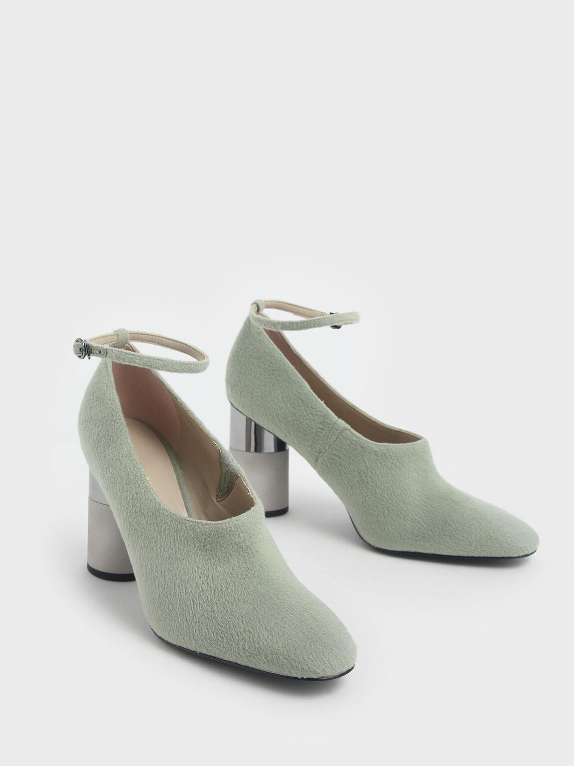 Ankle Strap Concrete Heel Pump, Sage Green, hi-res