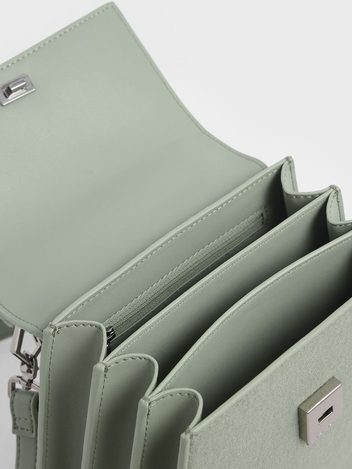 Angular Top Handle Felt Bag, Sage Green, hi-res