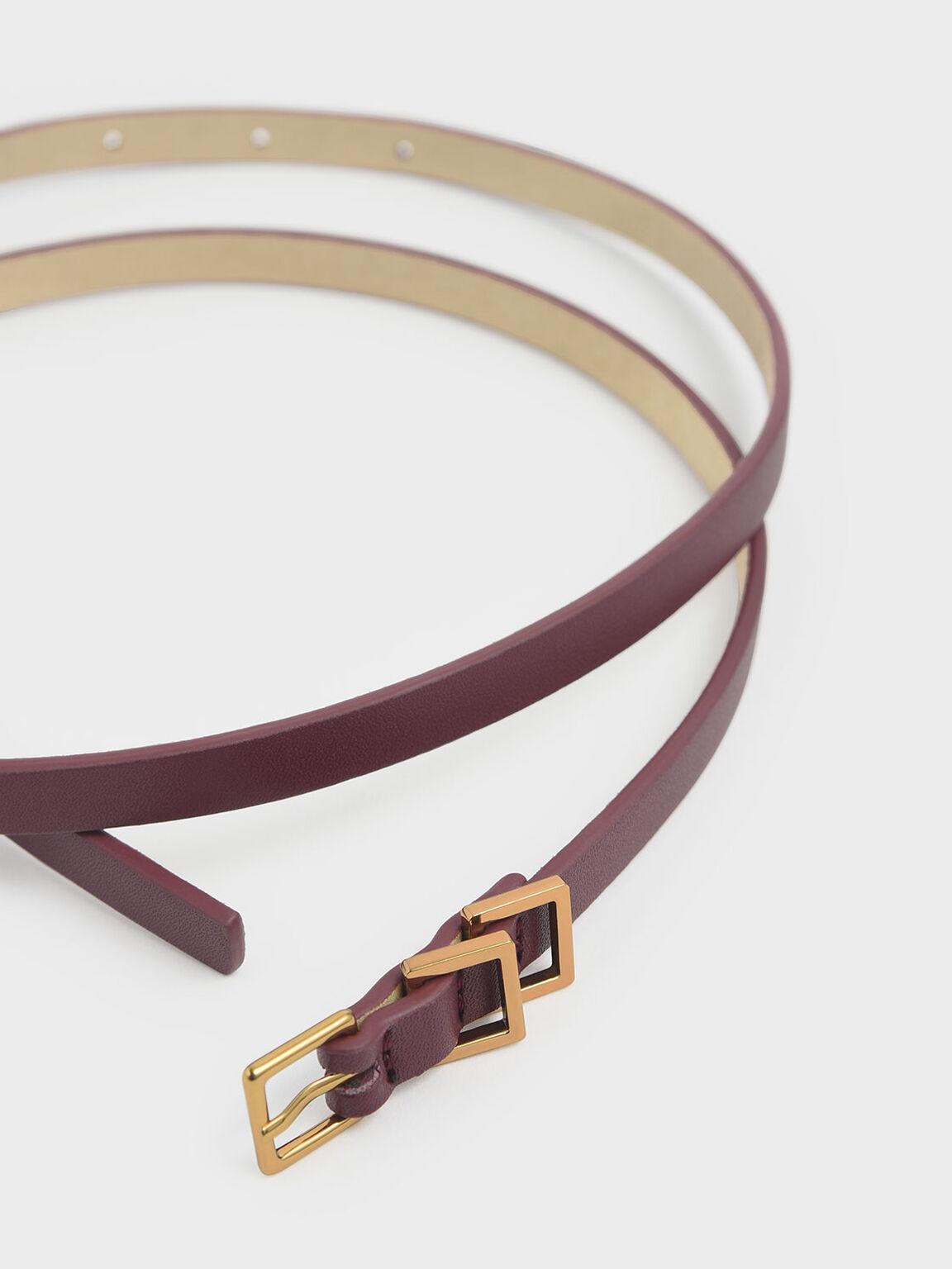 Skinny Knot Belt, Burgundy, hi-res