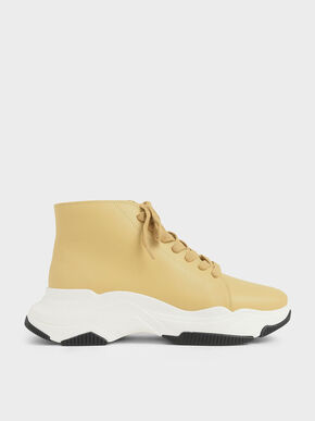Lace-Up Chunky High Top Sneakers, Yellow