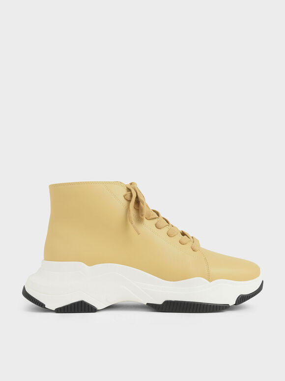 Lace-Up Chunky High Top Sneakers, Yellow, hi-res