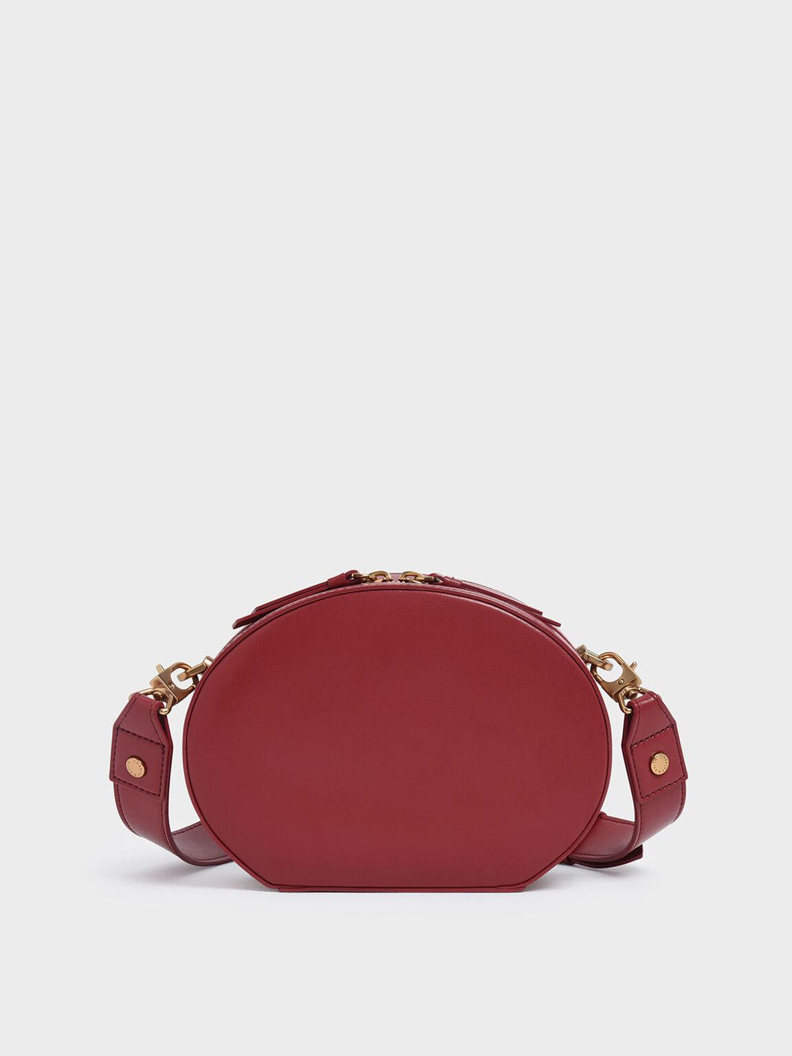 Oval Crossbody Bag, Red, hi-res