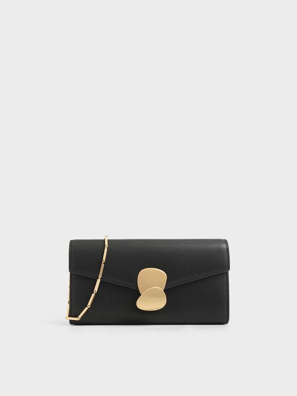 Mini Metal Push Lock Wallet, Black, hi-res