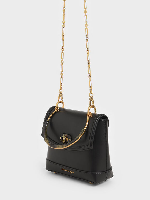 Stone-Embellished Top Handle Bag, Black, hi-res