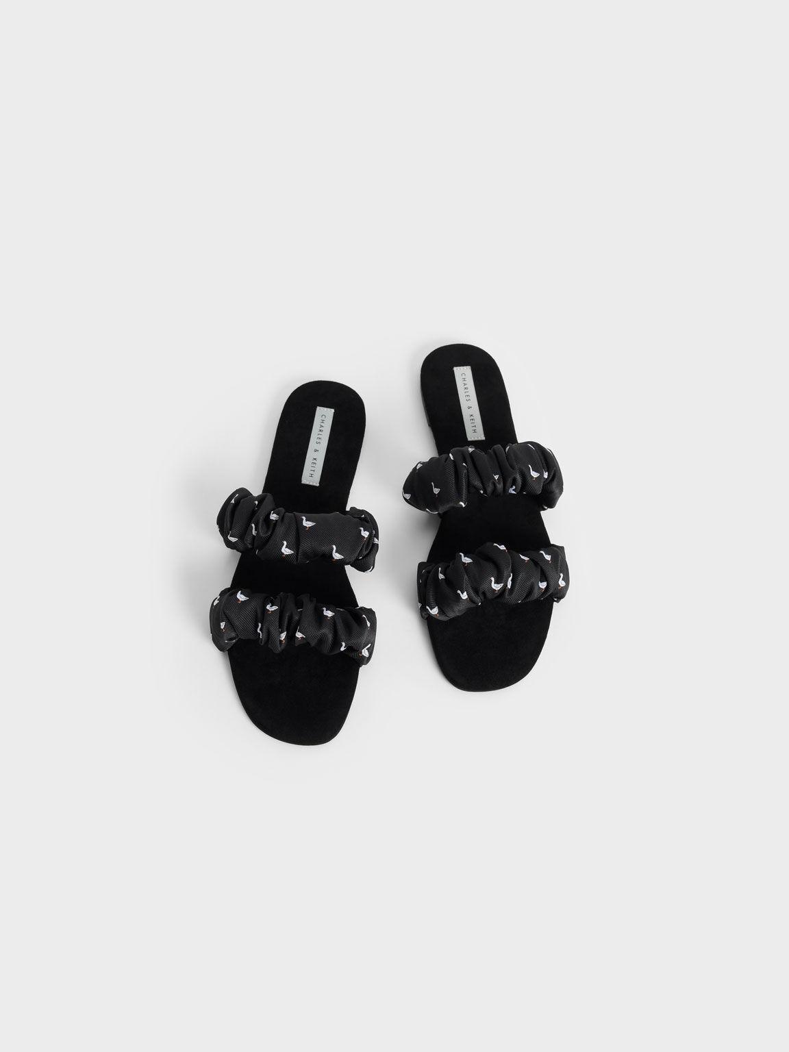 Jacquard Printed Ruched Strap Slide Sandals, Black Textured, hi-res