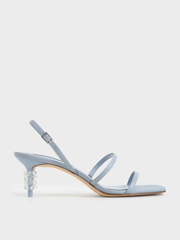 Geometric Heel Strappy Sandals, Light Blue, hi-res