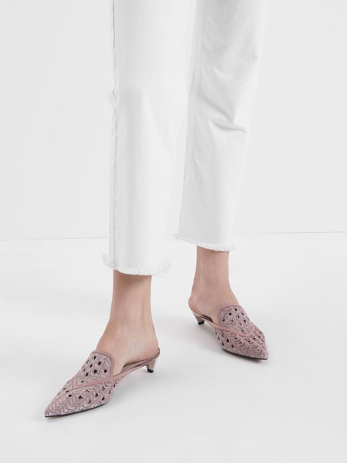 Velvet Laser Cut Mules, Pink, hi-res