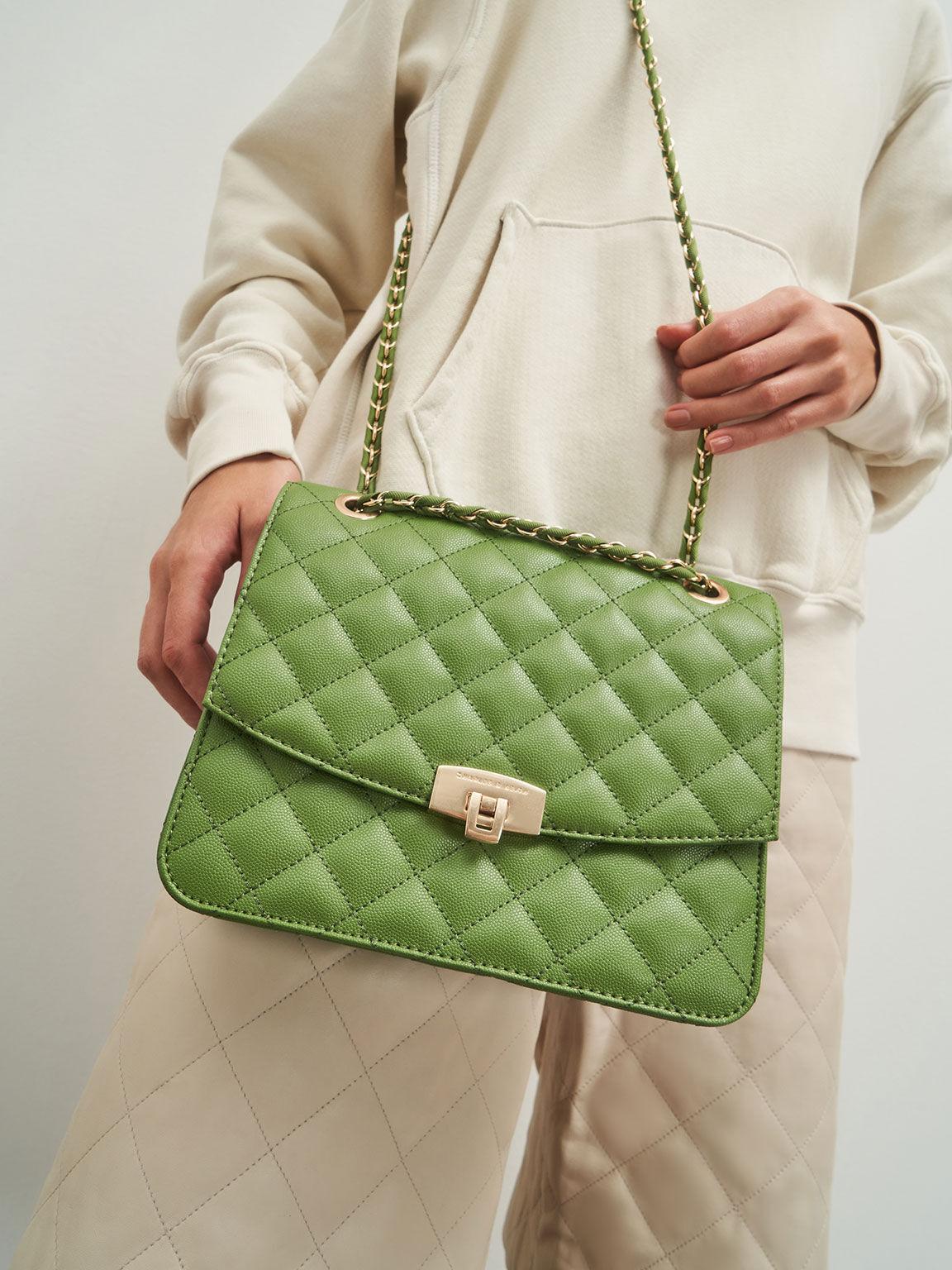 菱格紋鍊條包, 綠色, hi-res