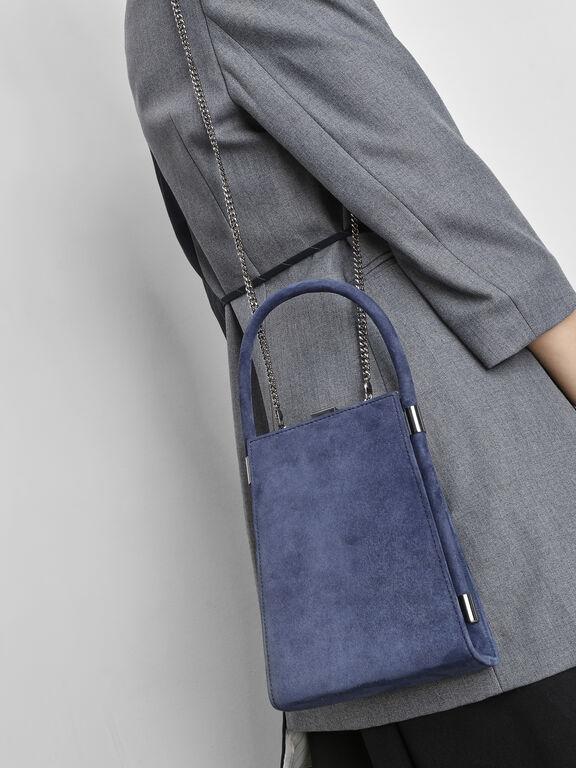 Suede Angular Bag, Dark Blue