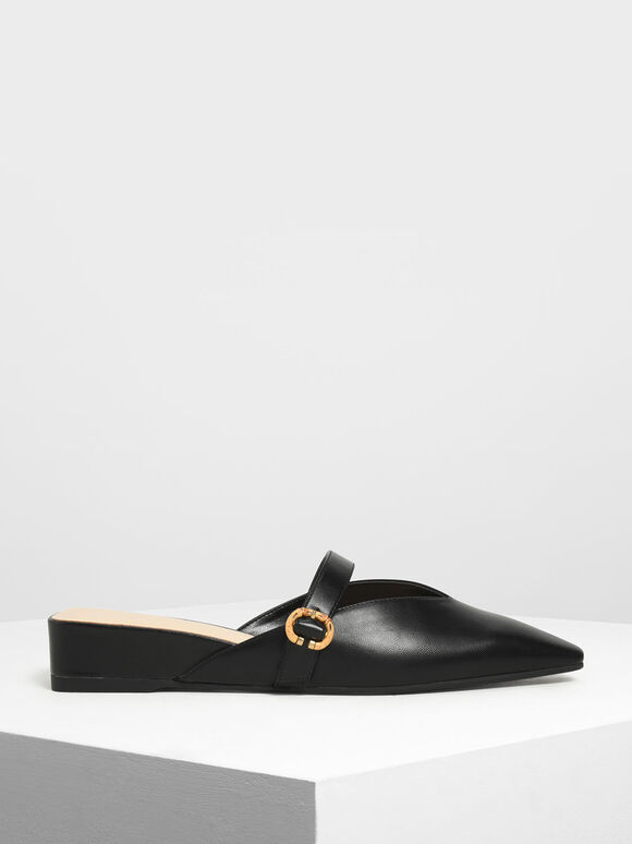 V-Cut Low Wedge Mules, Black, hi-res