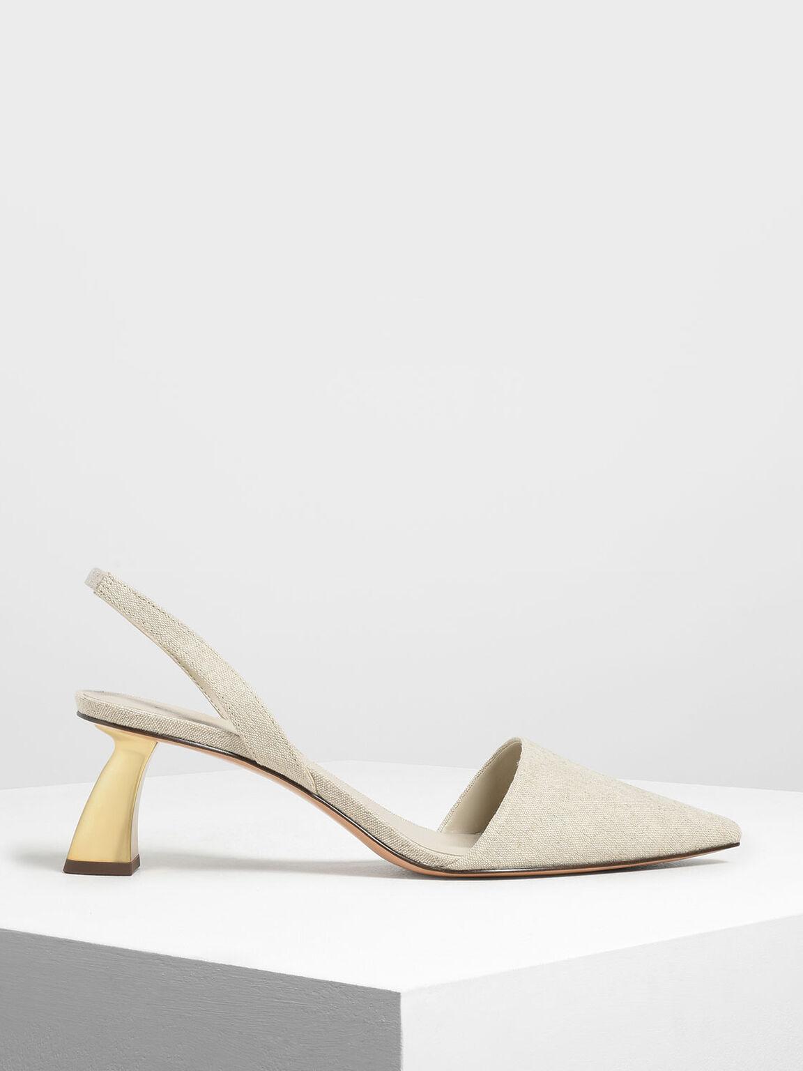 Linen Sculptural Heel Slingback Pumps, Taupe, hi-res