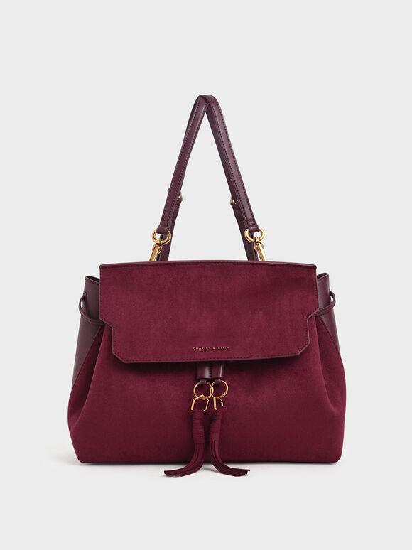 Textured Tassel Shoulder Bag, Burgundy, hi-res