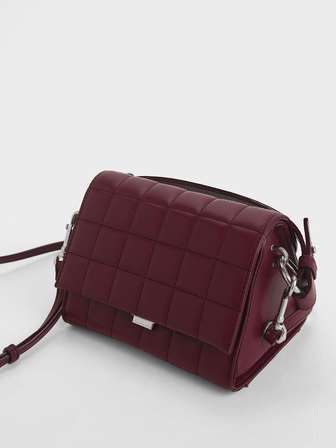 Quilted Push Lock Handbag, Burgundy, hi-res
