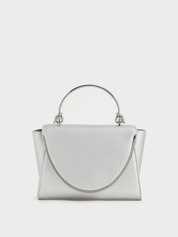 Metallic-Trimmed Front Flap Bag, Silver, hi-res