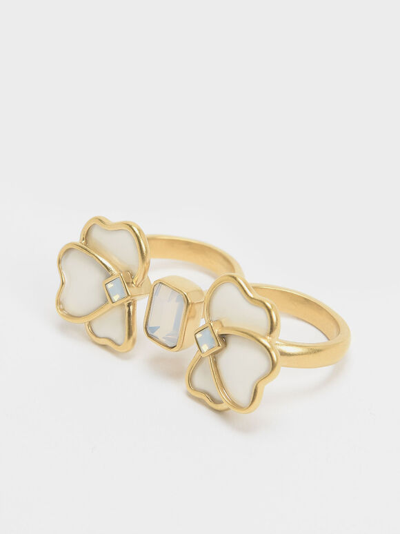 Crystal & Acrylic Petal Double Ring, White, hi-res
