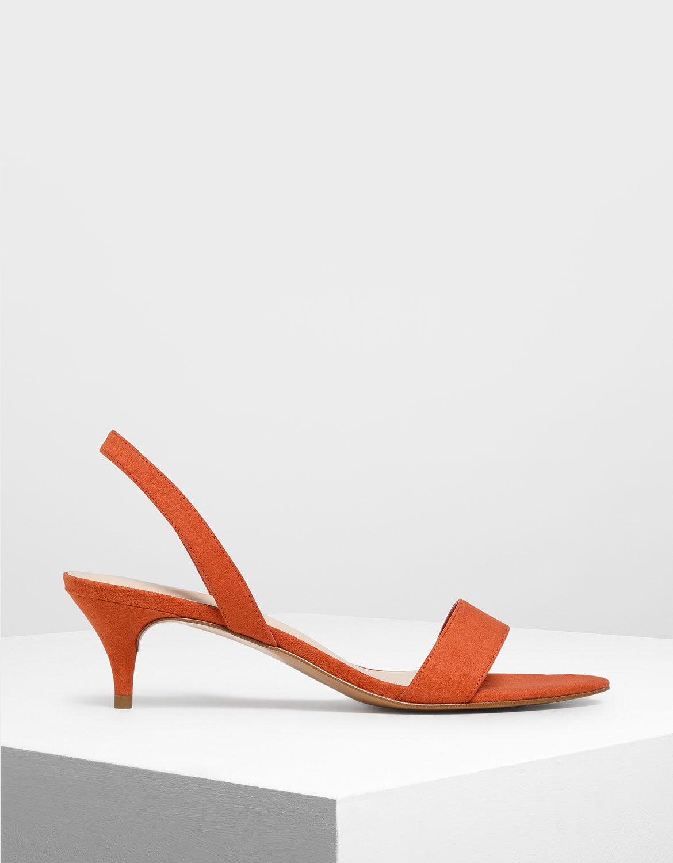 Red Open Toe Slingback Kitten Heels