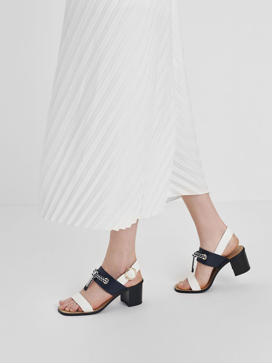 Braided Knot Block Heel Sandals, White, hi-res