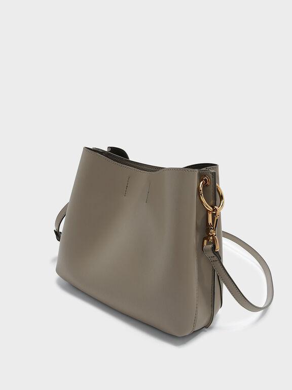 Wavy Strap Handbag, Taupe