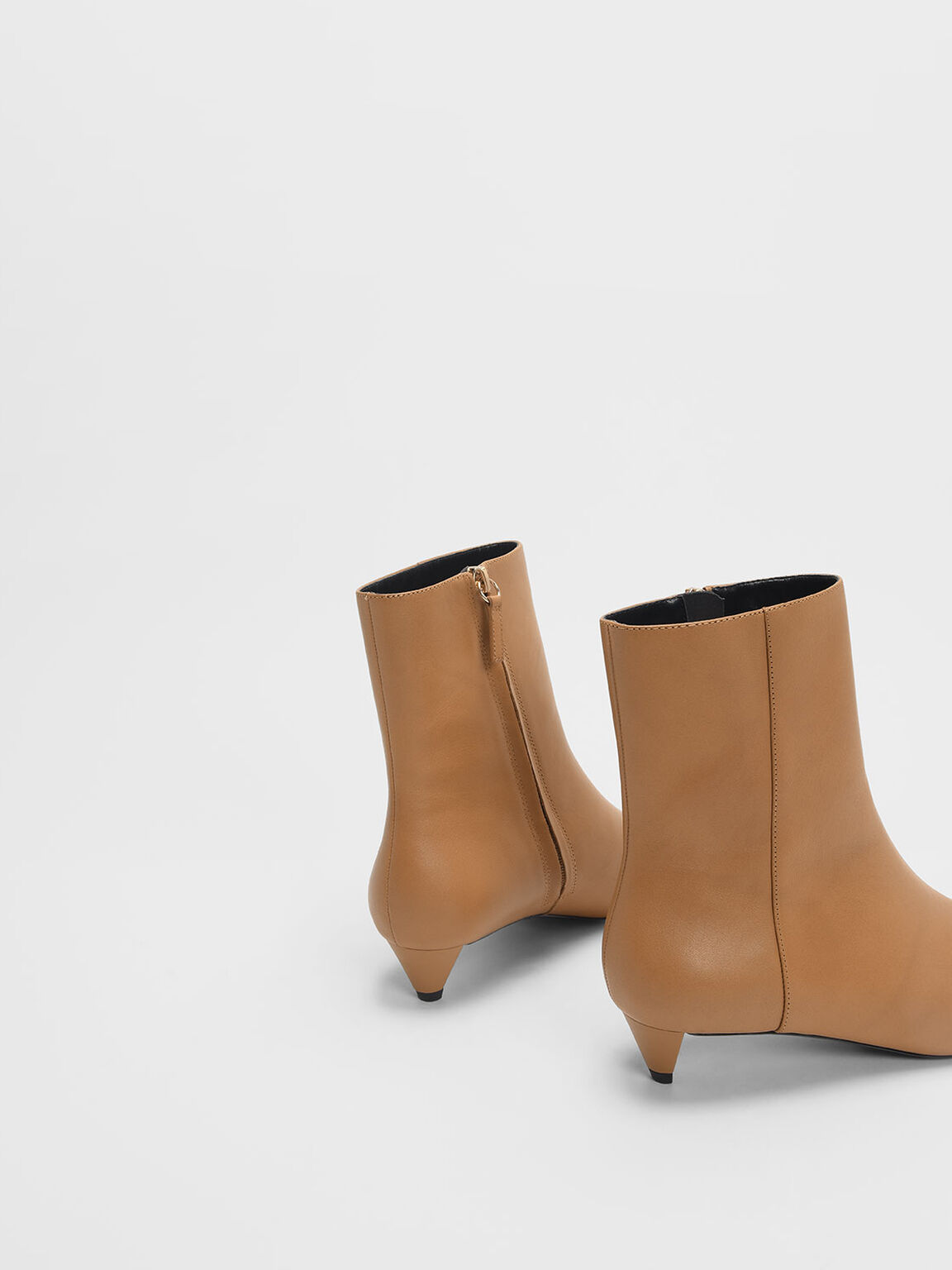 Kitten Cone Heel Leather Ankle Boots, Caramel, hi-res