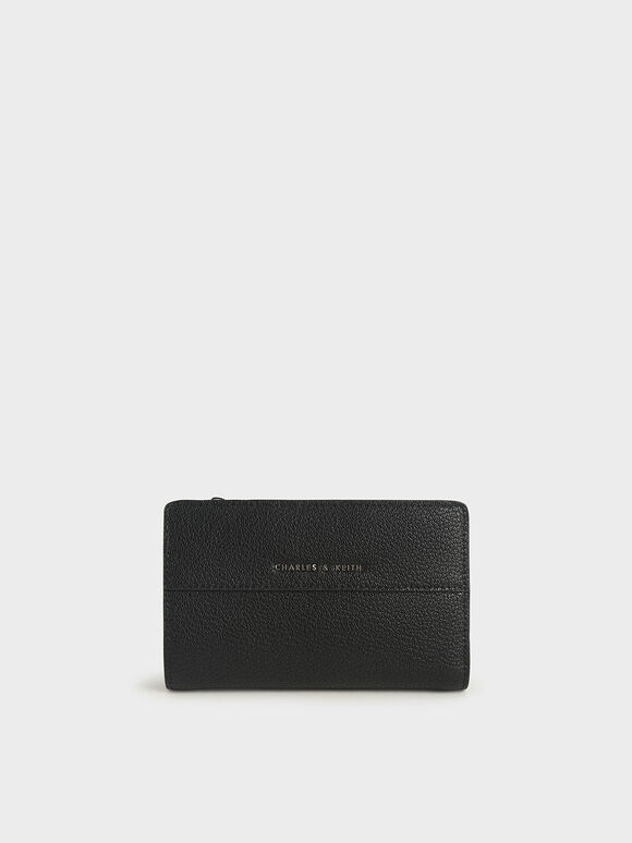 Snap Button Wallet, Black, hi-res