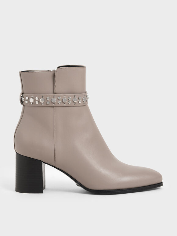 Leather Embellished Ankle Boots, Grey, hi-res