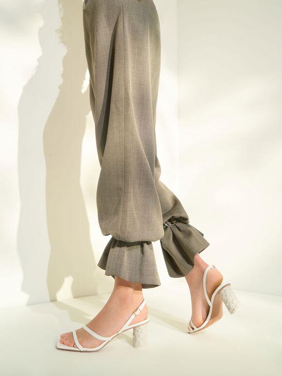 斜帶皺褶跟涼鞋, 白色, hi-res