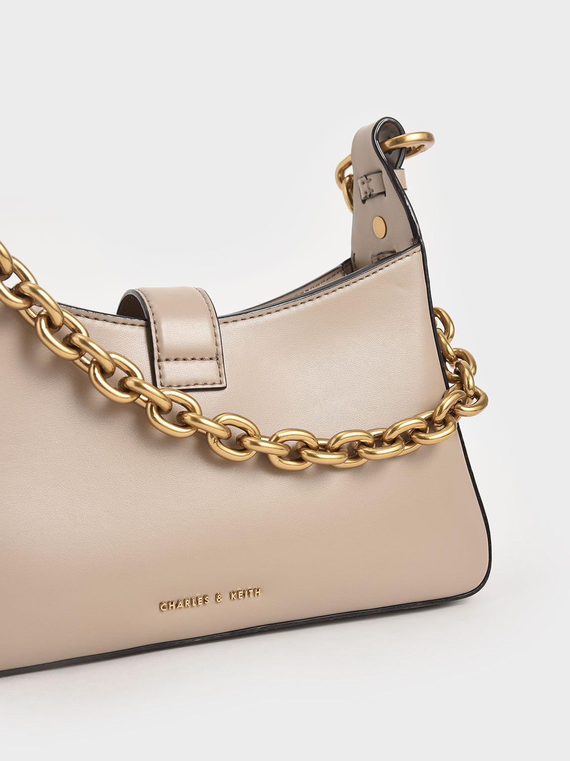 Chain Handle Shoulder Bag, Sand, hi-res