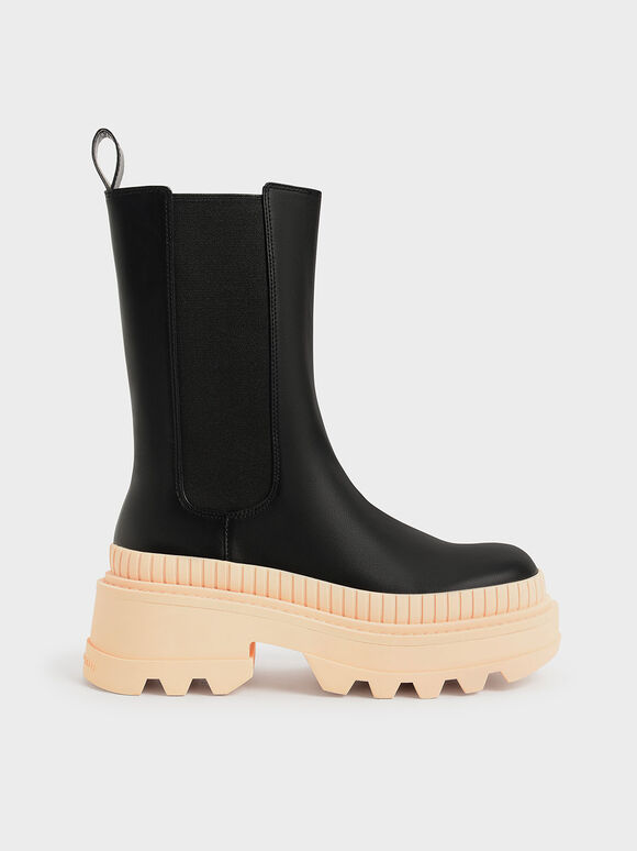 Rhys Coloured Sole Chelsea Boots, Pink, hi-res