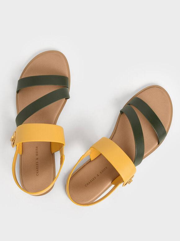 Asymmetrical Strappy Sandals, Mustard, hi-res