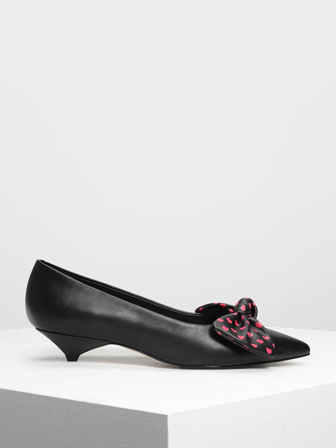 Printed Bow Kitten Heels, Black, hi-res
